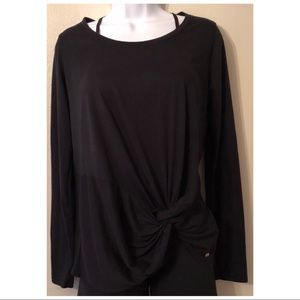 Fabletics Long Sleeve Black knot top.